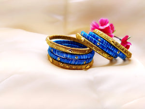 Silk Bangles - Light Blue and Golden (Set of 8) - Ahaeli