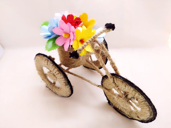 Miniature - Jute Tricycle Bike Planter with Flowers - Ahaeli