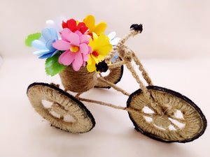 Miniature - Jute Tricycle Bike Planter with Flowers