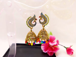 Earrings - Peacock Jhumka - Ahaeli