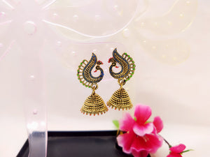 Earrings - Traditional Peacock Jhumki - Ahaeli