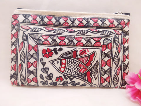Zip Pouch - Mithila Art (Design 2)