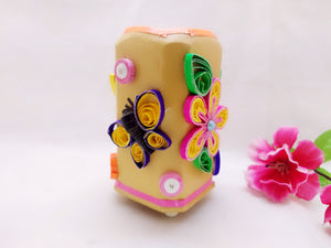 Pen Stand - Flowers and Butterfly Quilling Art