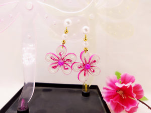 Earrings - Pink Floral Danglers - Quilled paper - Ahaeli