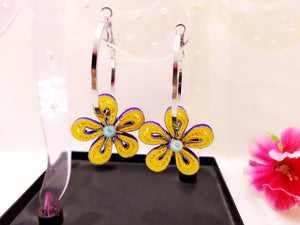 Earrings - Purple Hoops - Quilled paper - Ahaeli