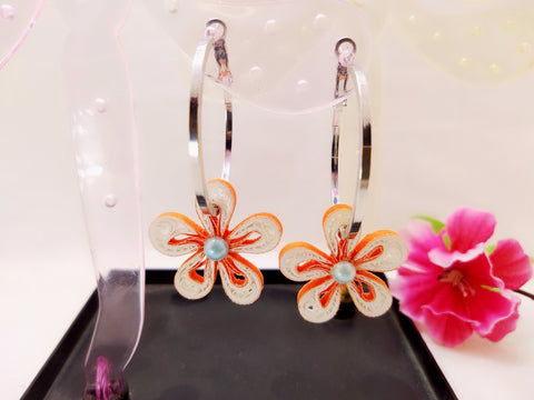 Earrings - Orange Hoops - Quilled paper - Ahaeli
