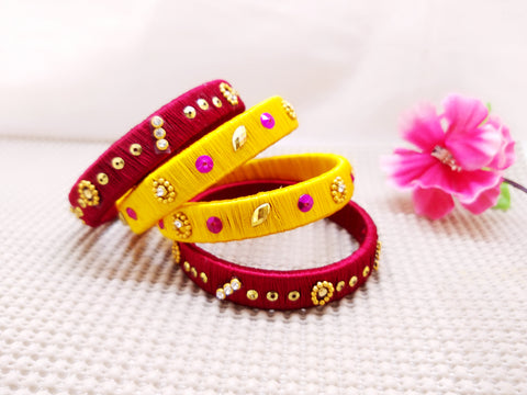 Silk Bangles - Bangles (Set of 4) - Ahaeli