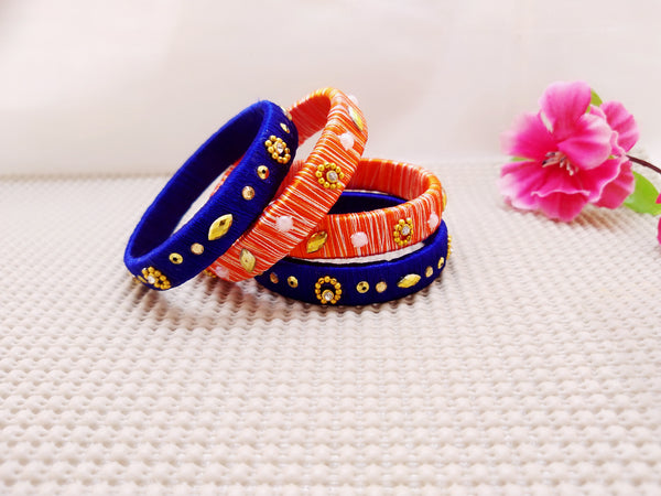 Silk Bangles - Blue and Orange Bangles (Set of 4) - Ahaeli