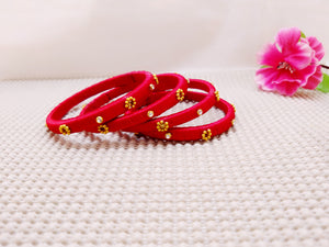 Silk Bangles - Floral Design Bangles (Set of 4) - Ahaeli