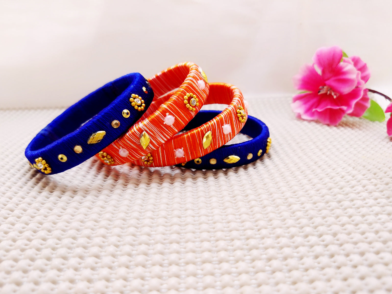 Silk Bangles - Blue and Orange Bangles (Set of 4)