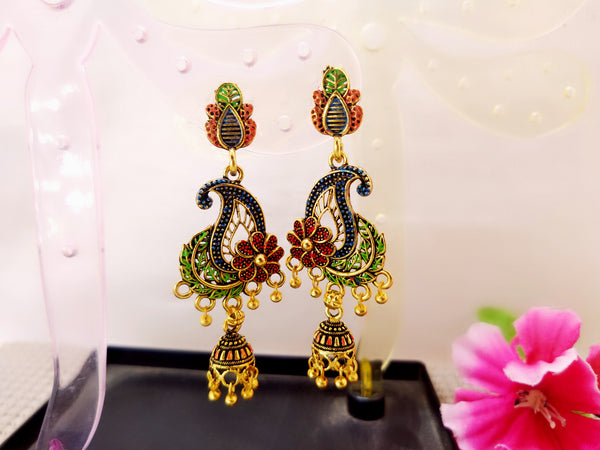 Earrings - Traditional Motif with leaf - Ahaeli