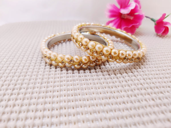 Lac Bangles - Golden with pearls - Ahaeli