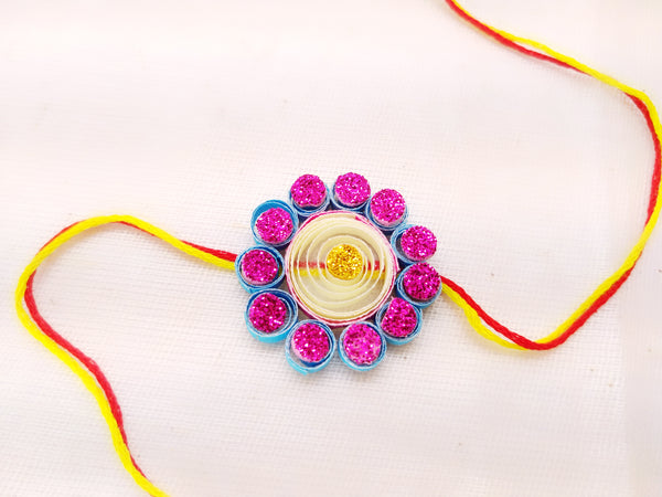 Rakhi - Quilled Rakhi - Blue Flower - Ahaeli