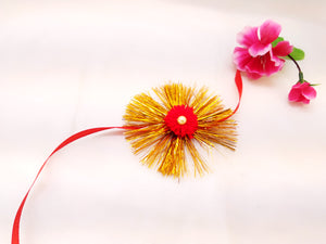 Rakhi - Traditional Rakhi - Red pom pom - Ahaeli