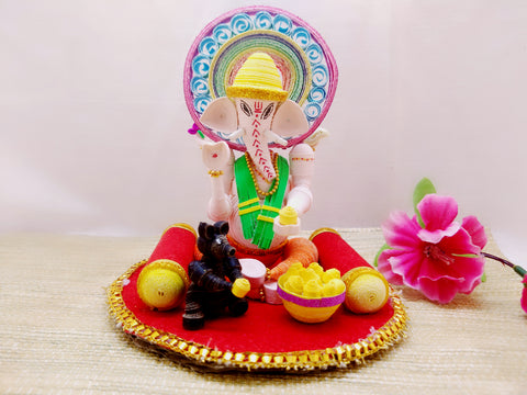 Miniature - Ganesha with Mushak - Quilled Art - Ahaeli