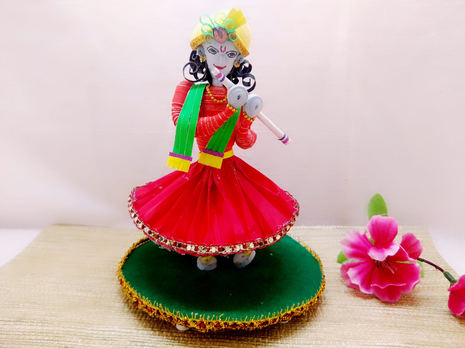 Miniature - Krishna playing Flute - Quilled paper - Ahaeli