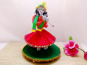 Miniature - Krishna playing Flute - Quilled Art - Ahaeli