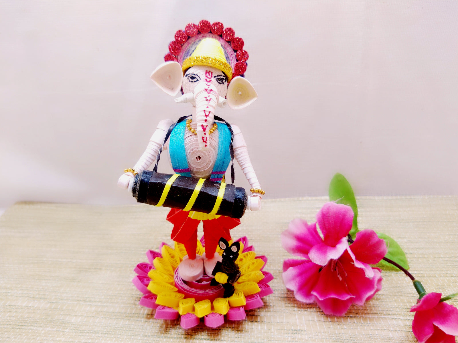 Miniature - Ganesha playing Dhol - Quilled Art - Ahaeli