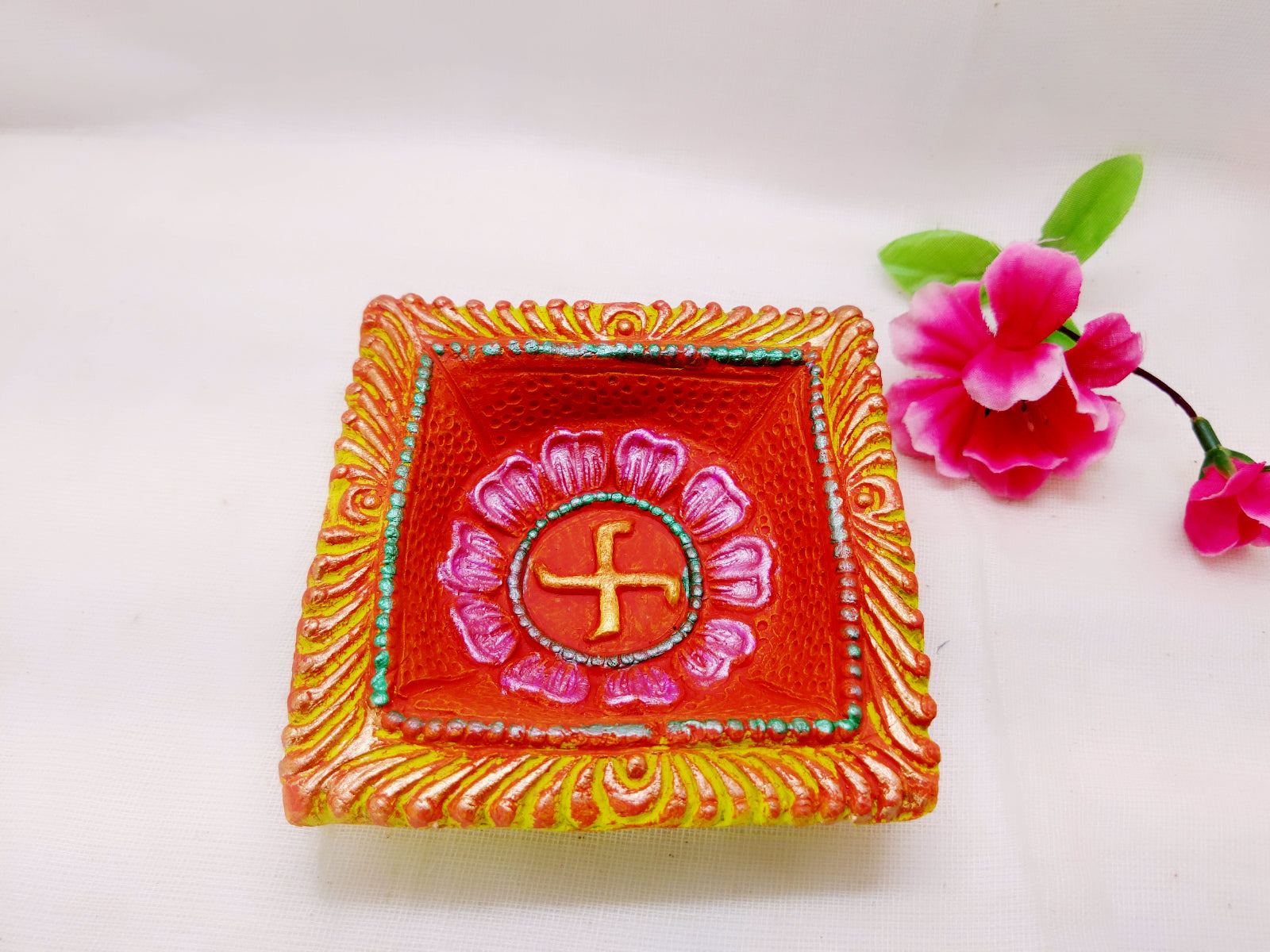 Terracotta Diya - Big Square Designer Diya (Set of 1) - Ahaeli