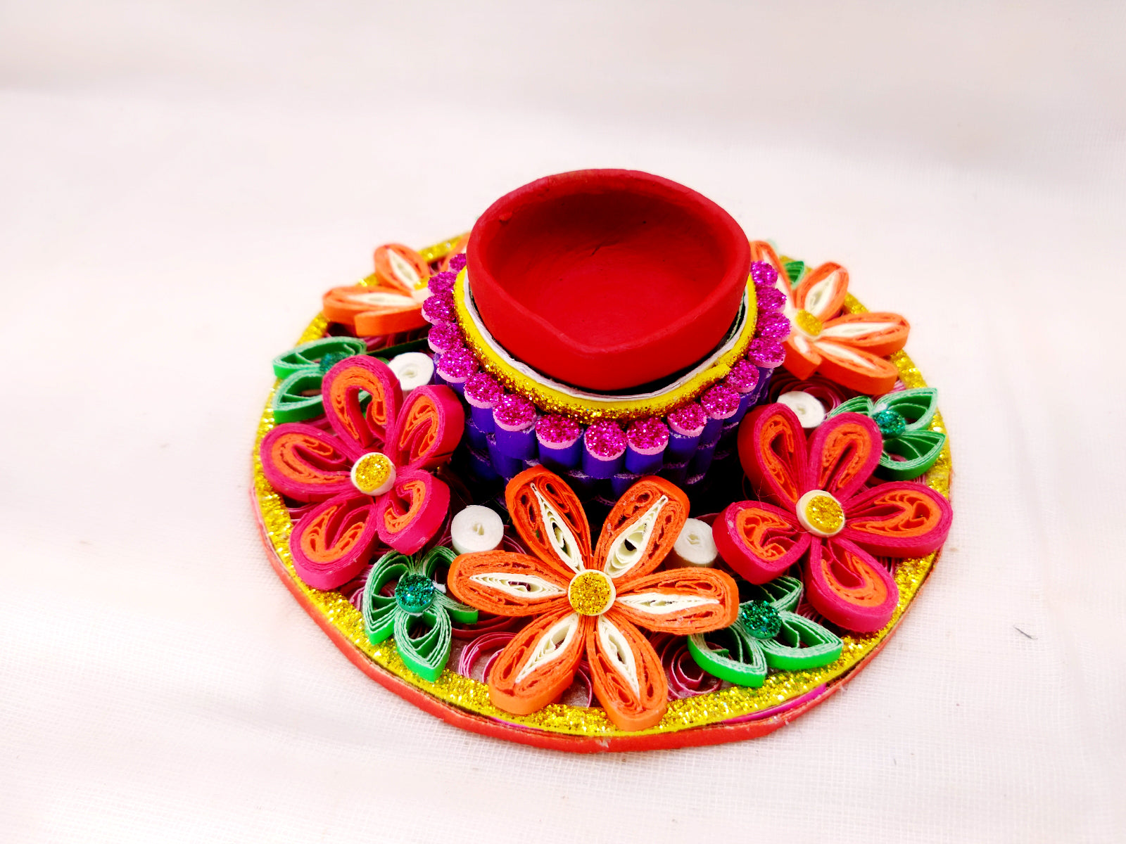 Terracotta Diya - Tealight Holder - Quilled paper