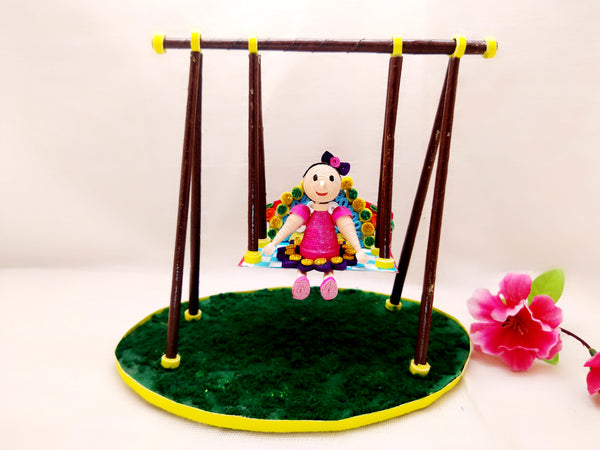 Miniature - Doll on Swing - Quilled Art - Ahaeli