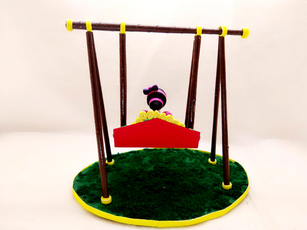 Miniature - Doll on Swing - Quilled paper - Ahaeli