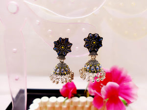 Earrings - Blue and Yellow Polki Jhumka - Ahaeli