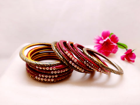 Lac Bangles - Maroon with Pearls (Set of 12) - Ahaeli
