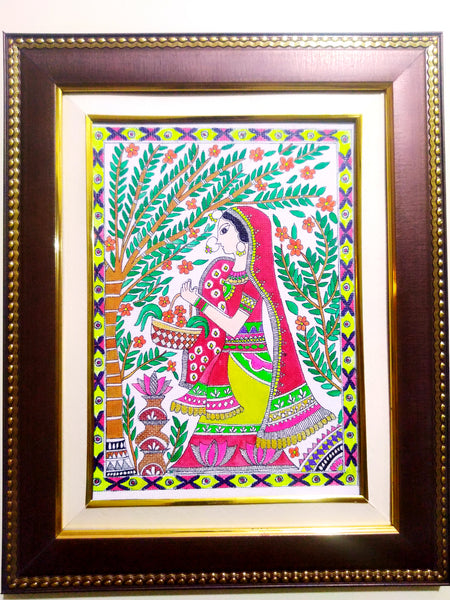 Painting - Sita in Pushp Vatika (Mithila Art)