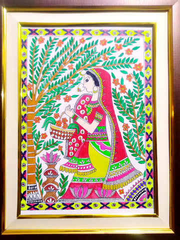 Painting - Sita in Pushp Vatika (Mithila Art) - Ahaeli