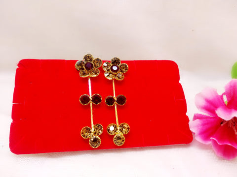 Earrings - Flower (Red and Yellow Stones) - Ahaeli