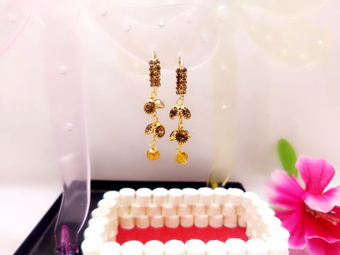 Earrings - Flower Style Jhumka (Yellow Stone) - Ahaeli