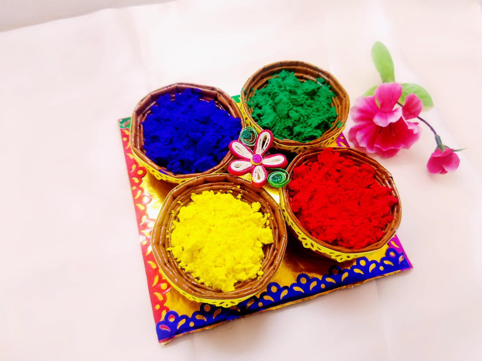 Holi Organic Colours - Pack of 4 colors (Quilled Basket) - Ahaeli