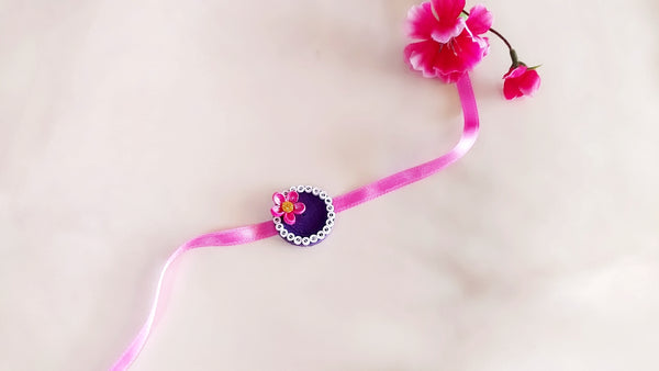 Rakhi - Quilled Rakhi - Purple with Pink Flower - Ahaeli