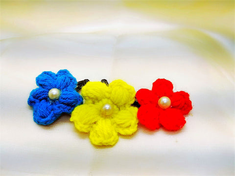 Daffodils Crochet Tic Tacs With Pearl - Set of 3
