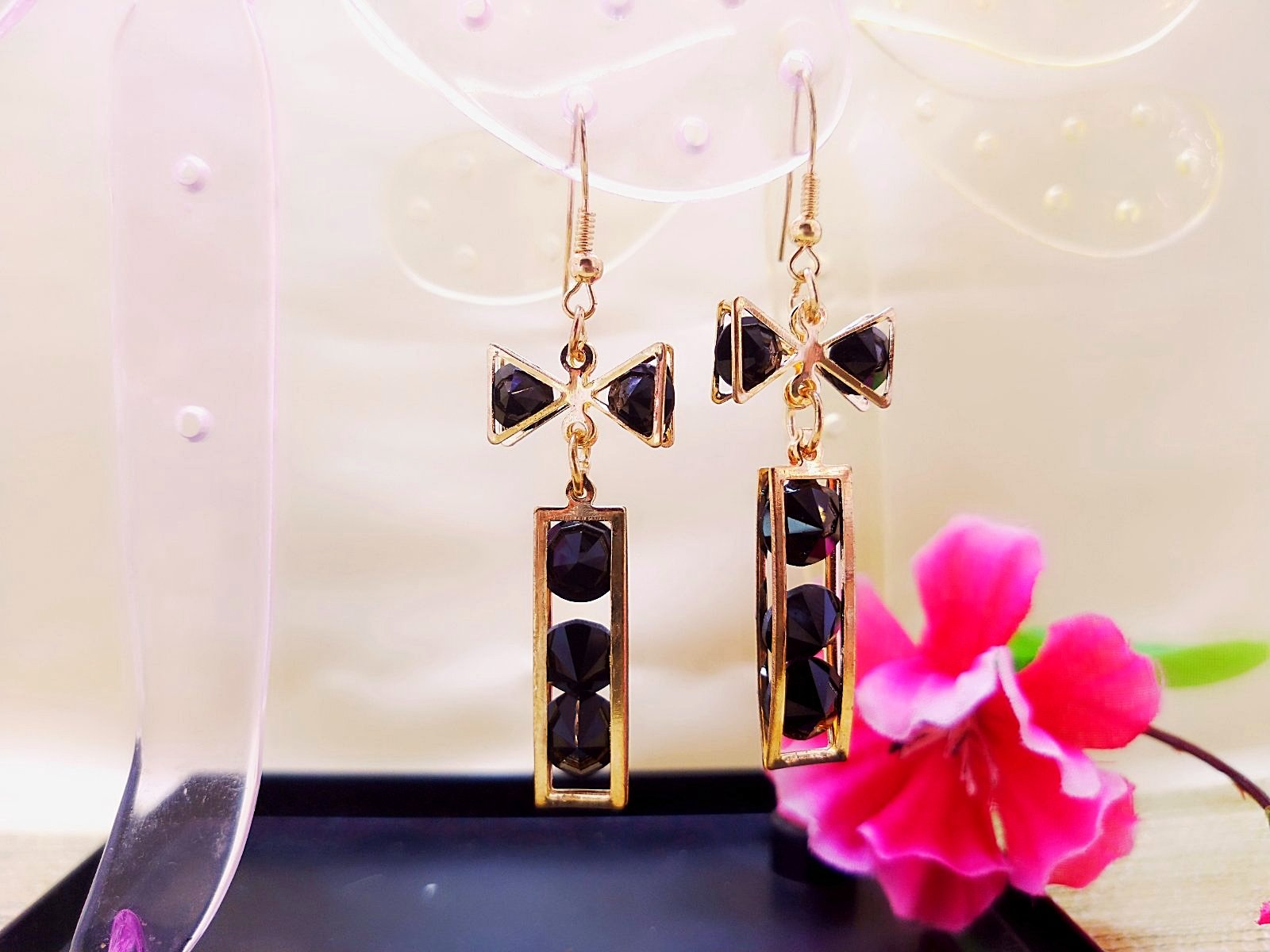 Earrings - Black Beaded - Ahaeli