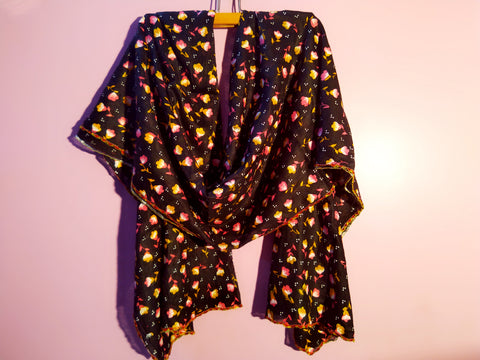 Dupatta - Black Cotton Handpainted