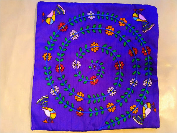 Cushion Cover - Floral Mithila Art - Ahaeli