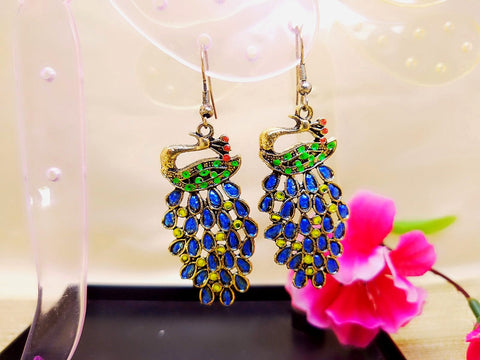 Earrings - Blue Peacock - Ahaeli