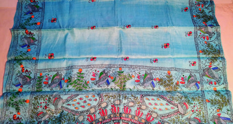 Saree - Mithila Painting Teal Blue - Ahaeli