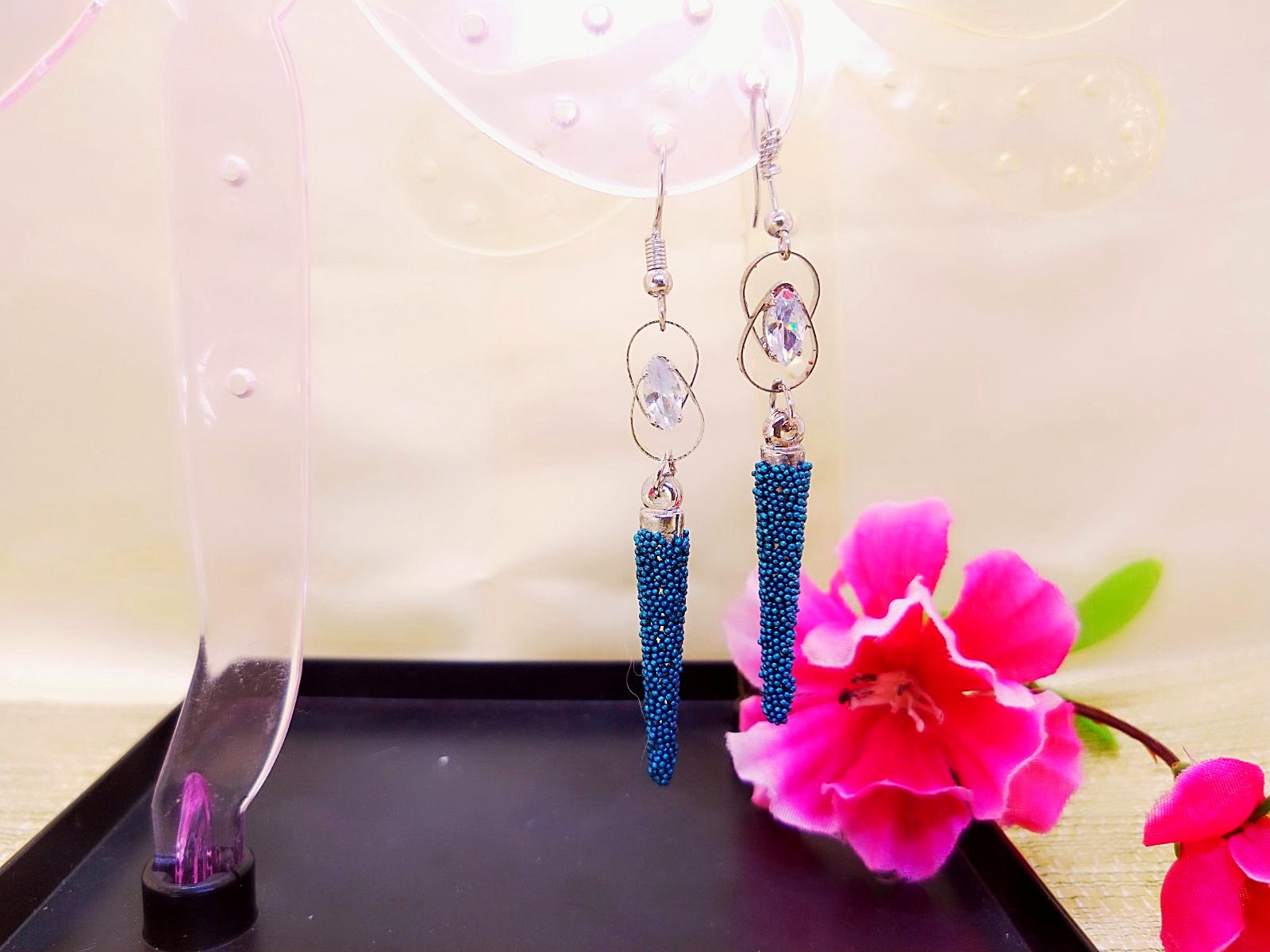 Earrings - Blue Spike Drop