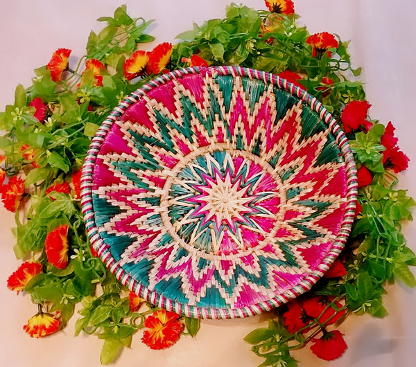 Sikki Grass Decorative Basket- Colorful Floral Small - Ahaeli