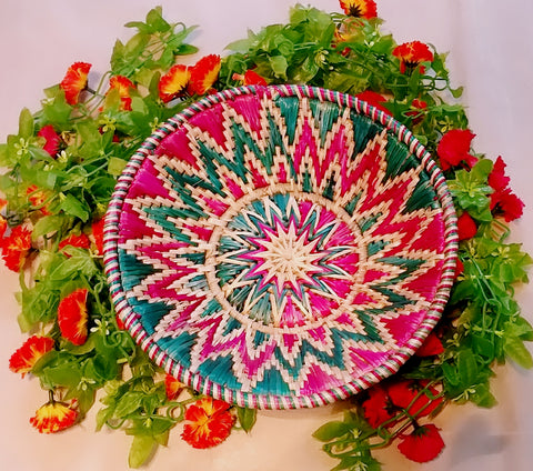 Sikki Grass Decorative Basket- Colorful Floral Small