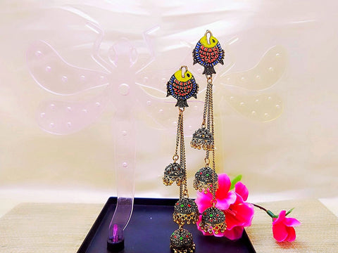 Earrings - Fish Style Mithila Art - Ahaeli