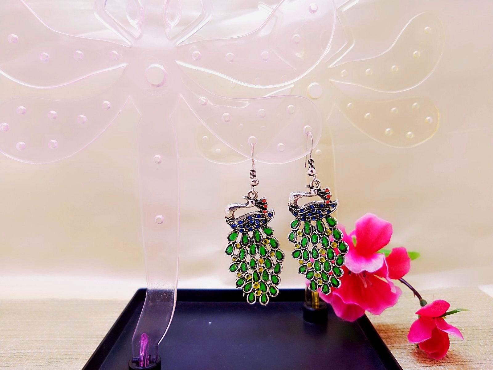 Earrings - Green Peacock