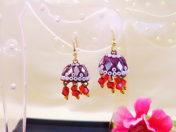 Earrings - Maroon Lac - Ahaeli