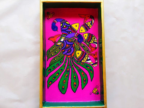Wooden Tray - Peacock and Fish (Mithila Art)