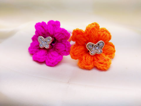 Crochet Flower Hair band- Pink & Orange - Ahaeli