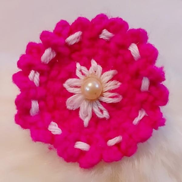 Crochet Flower Hair band- Pink & White - Ahaeli