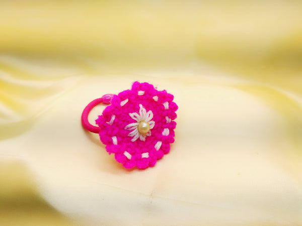 Crochet Flower Hair band- Pink & White